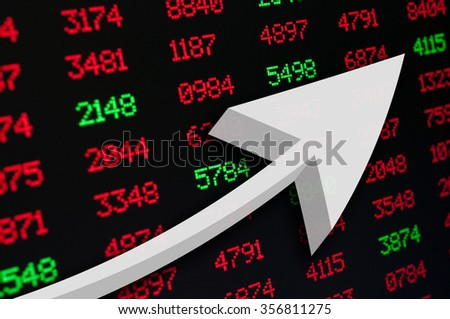 Stock Market - An Arrow on Background of Red and Green Figures - stock photo