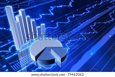 Stock Market Bar Graph and Pie Chart - stock photo