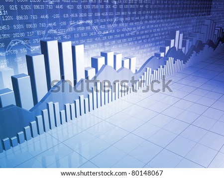 Stock market bars, charts and graphs toward financial success - stock photo