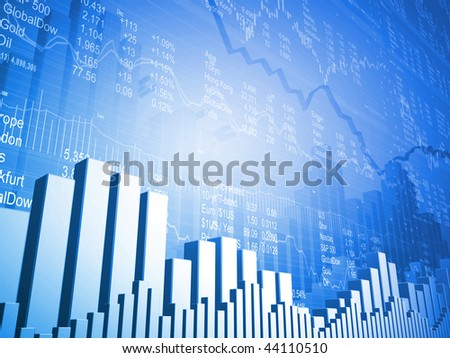 Stock Market Board with Down Arrows - stock photo
