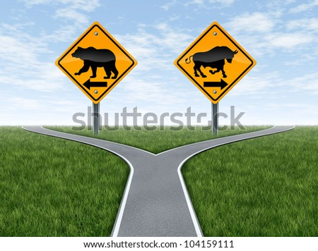 Stock market bull and bear representing the concepts of greed versus fear as a wall street financial crossroads challenge in a confused direction choice on a blue sky with summer landscape. - stock photo