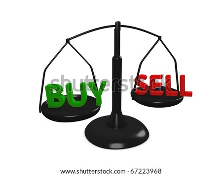 Stock market Buy and Sell concept image, isolated on white background. - stock photo