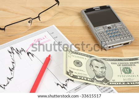Stock market candle charts, remarks with a red marker, glasses, US dollars and mobile smart phone - stock photo