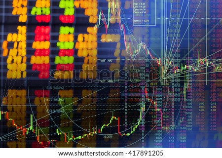 Stock market chart and digital graph - stock photo