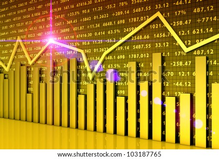 Stock market chart and graphs - stock photo