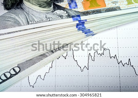 Stock market chart and 100 USA dollars banknote - market concept - stock photo
