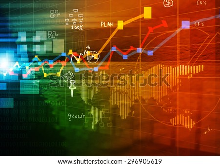 Stock market chart background 	 - stock photo