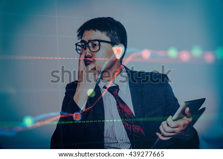 Stock market chart. Business graph background. Forex trading bus - stock photo