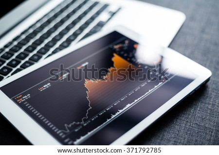 Stock market chart digital tablet
