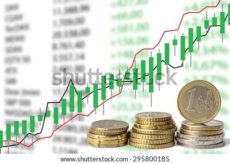 stock market chart , illustration - euro coins, euro money  - stock photo