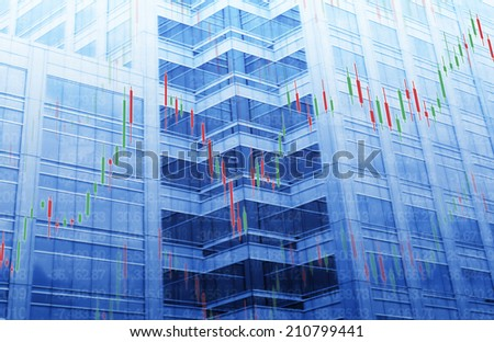 Stock Market Chart on Blue Tower Background - stock photo