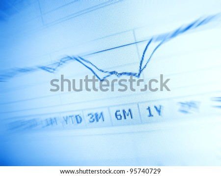 Stock market chart on computer screen. Selective focus - stock photo