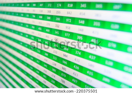 Stock market chart on green background. Computer screen. Currency exchange forex trade screen data concept. Stock market. Financial data stock exchange. Display of Stock market quotes. Forex trade.   - stock photo