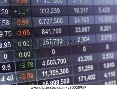 Stock market chart,on LED display concept. - stock photo
