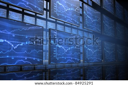 Stock Market Chart Screens - stock photo