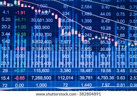 Stock market chart, Stock market data on LED display concept. - stock photo