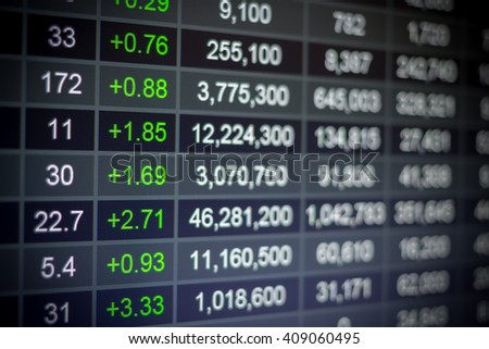 Stock market chart,Stock market data on LED display concept. - stock photo