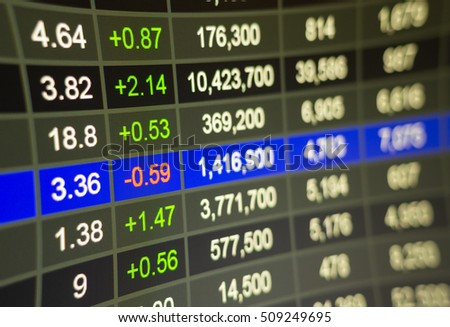 Stock market chart,Stock market data on LED display concept.a large display of daily stock market price and quotation