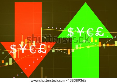 Stock market chart which including of currency symbol and Up/Down trend.