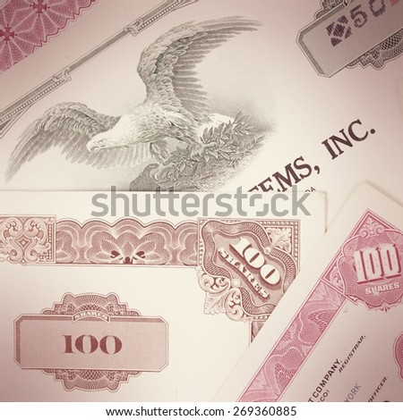Stock market collectibles. Cross processed color tone - retro image filtered style. - stock photo
