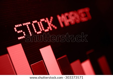 Stock Market - Column Going Down on Red Display