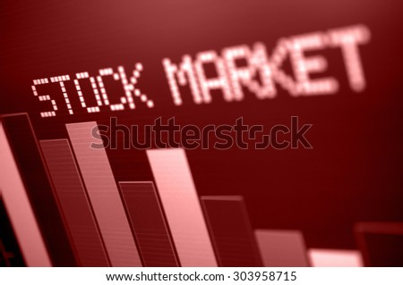 Stock Market - Column Going Down on Red Display - Shallow Depth of Field - stock photo