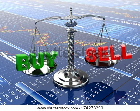 Stock market concept. Scale on financial graph. 3d - stock photo