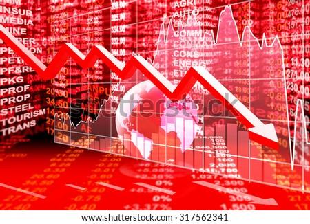 stock market concept , stock market crisis - stock photo