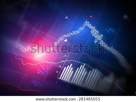 Stock Market Data. Candle stick stock market tracking graph. - stock photo