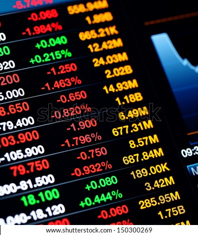 Stock market data on LED display - stock photo