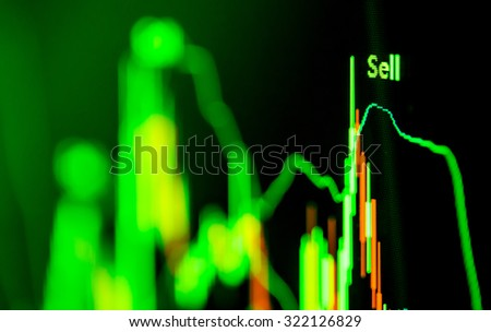 Stock market data on LED display - stock photo
