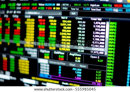 Stock market data on LED display concept