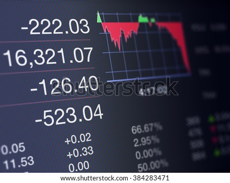 Stock Market Financial Trading Screen on a high resolution LCD screen. - stock photo