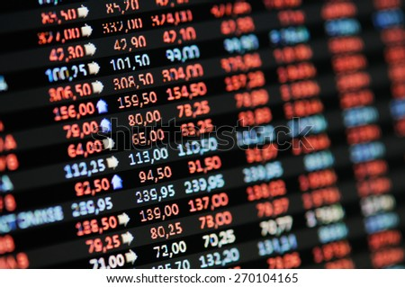 Stock Market Financial Trading Screen on LCD screen. - stock photo