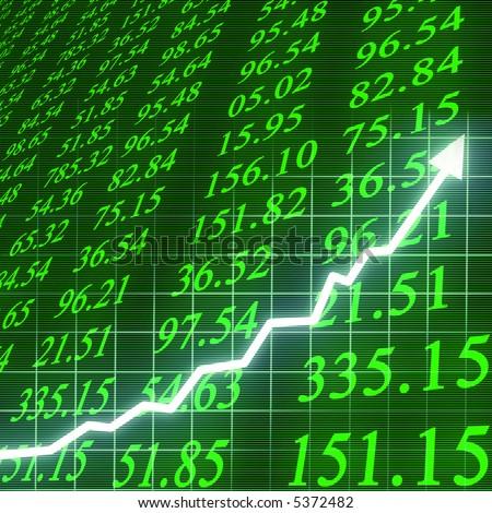Stock market going up - stock photo