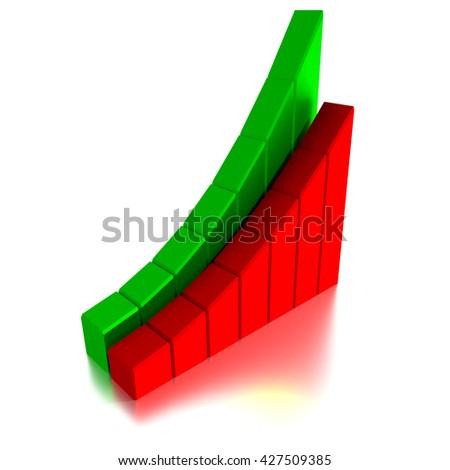 Stock Market Graph and Bar Chart, 3d illustration - stock photo