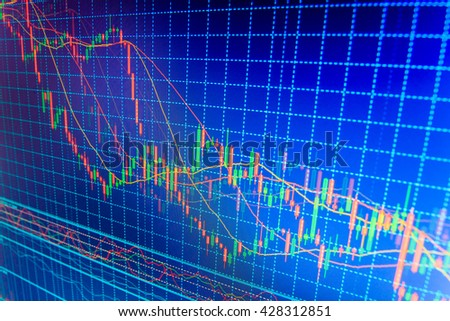 Stock market graph and bar chart price display. Analysing stock market data on a monitor. Market report on blue background. World economics graph. Live stock trading online. Stock trade live.