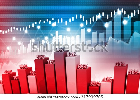 Stock Market Graph and business Bar Chart - stock photo