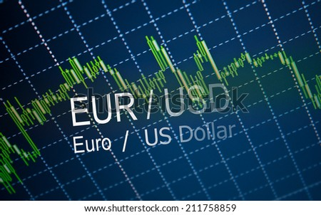 Stock market graph background.Analytic s in pairs EUR / USD - stock photo