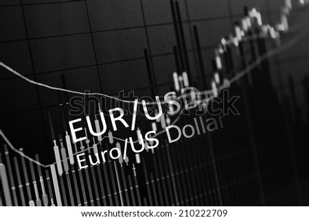 Stock market graph background.Analytics in pairs EUR / USD - stock photo