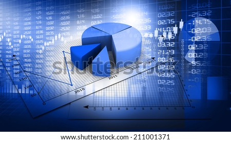 Stock market  Graph on abstract blue background		 - stock photo