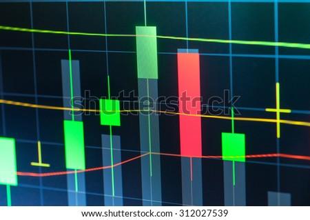 Stock market graph on screen display - stock photo