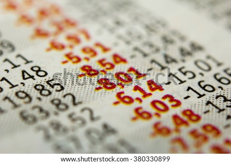 Stock Market Graph. Red numbers indicate the negative stock market value - stock photo