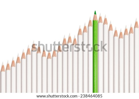 Stock market graph, white and green pencils isolated on white background, concept for success, business, improvement, profit, investment or green energy - stock photo