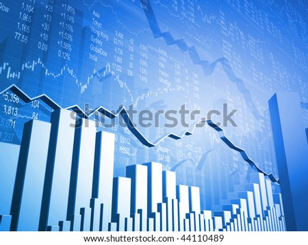 Stock Market Graph with 3D Market Indicators - stock photo