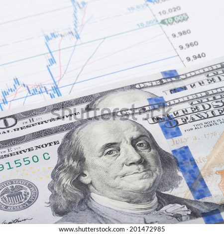 Stock market graph with 100 dollars banknote - 1 to 1 ratio - stock photo