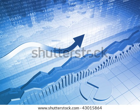 Stock Market Graph with Pie Chart and Up Arrow - stock photo
