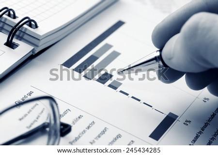 Stock market graphs analysis  - stock photo