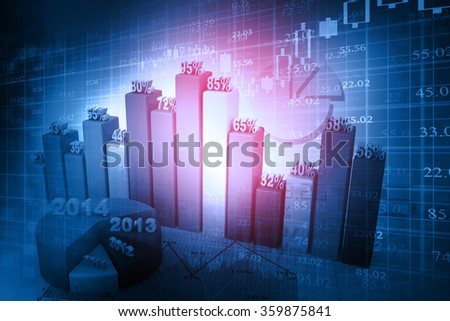 Stock market graphs, business growth percentage  - stock photo
