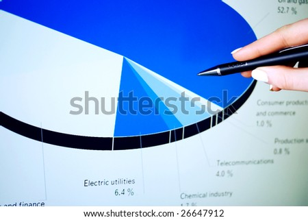 Stock market graphs monitoring on the computer lcd screen. - stock photo
